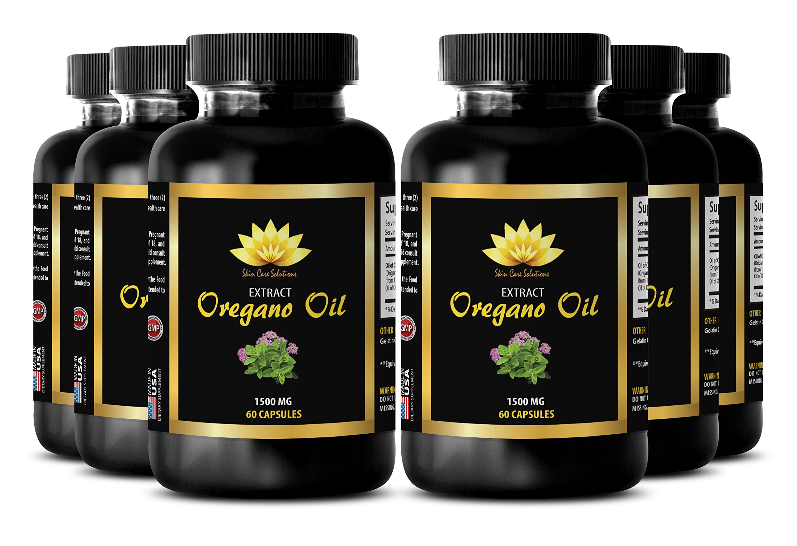 Candida support - OREGANO OIL EXTRACT 1500mg - Pure oregano oil capsules - 6 Bottles 360 Capsules by SKIN CARE SOLUTIONS