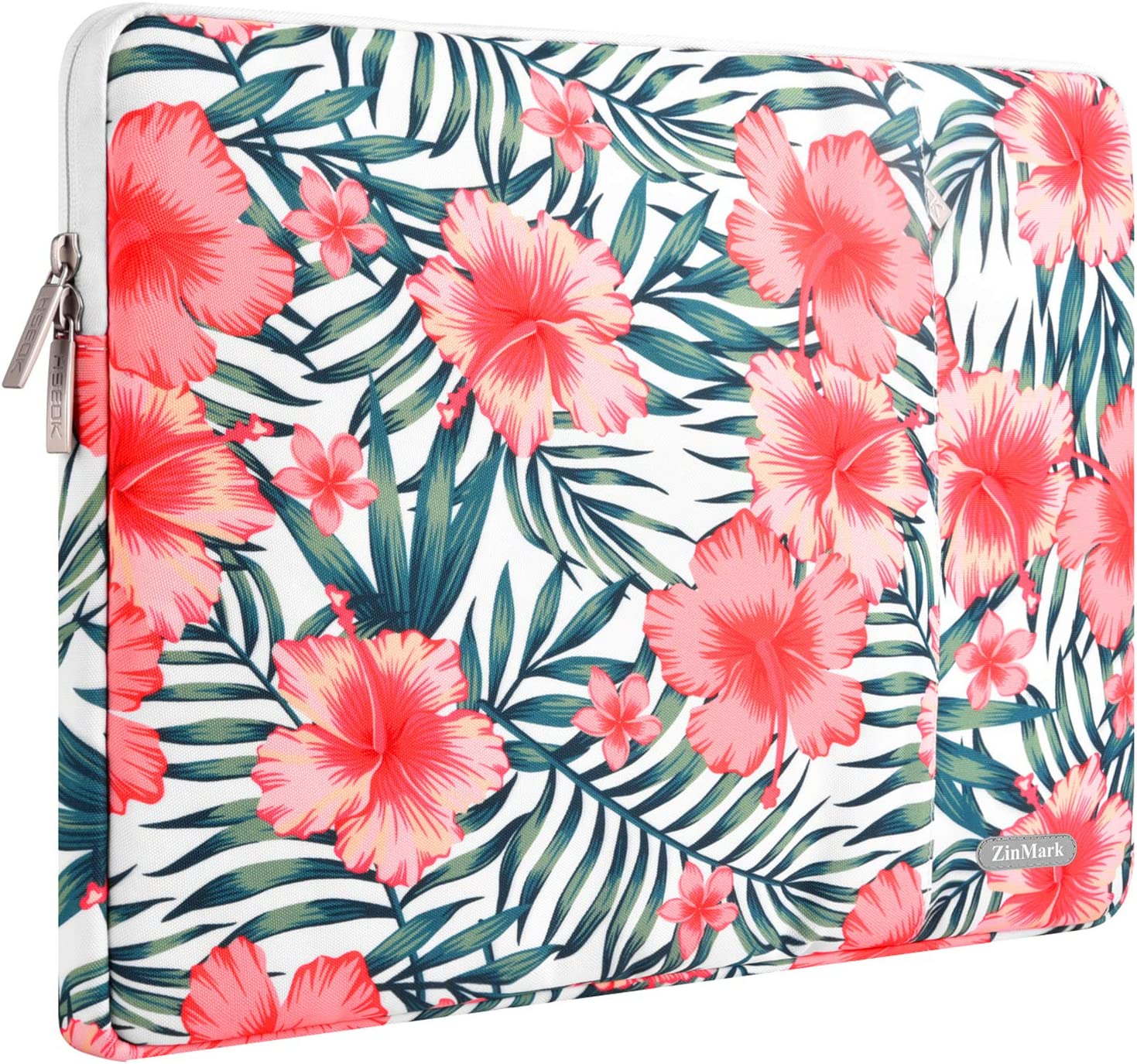 ZinMark Laptop Sleeve 13 Inch Compatible 2019 2018 MacBook Air 13 Inch Retina A1932, 13 Inch MacBook Pro A2159 A1989 A1706 A1708 | XPS 13, Water-Resistant Polyester Notebook Case, Rhododendron