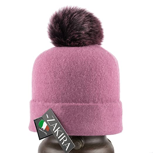Amazon.com  ZAKIRA Felted Wool Pom Pom Beanie Hat  Clothing fa09ff32853