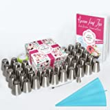 63pcs Complete Russian Piping Tips Set - Premium Cake & Cupcake Decorating Tools Kit - 38 Icing Nozzles + 20 Pastry Bags + Silicone Bag + Coupler + Brush + Gift Box + PDF User Guide & Frosting Recipes