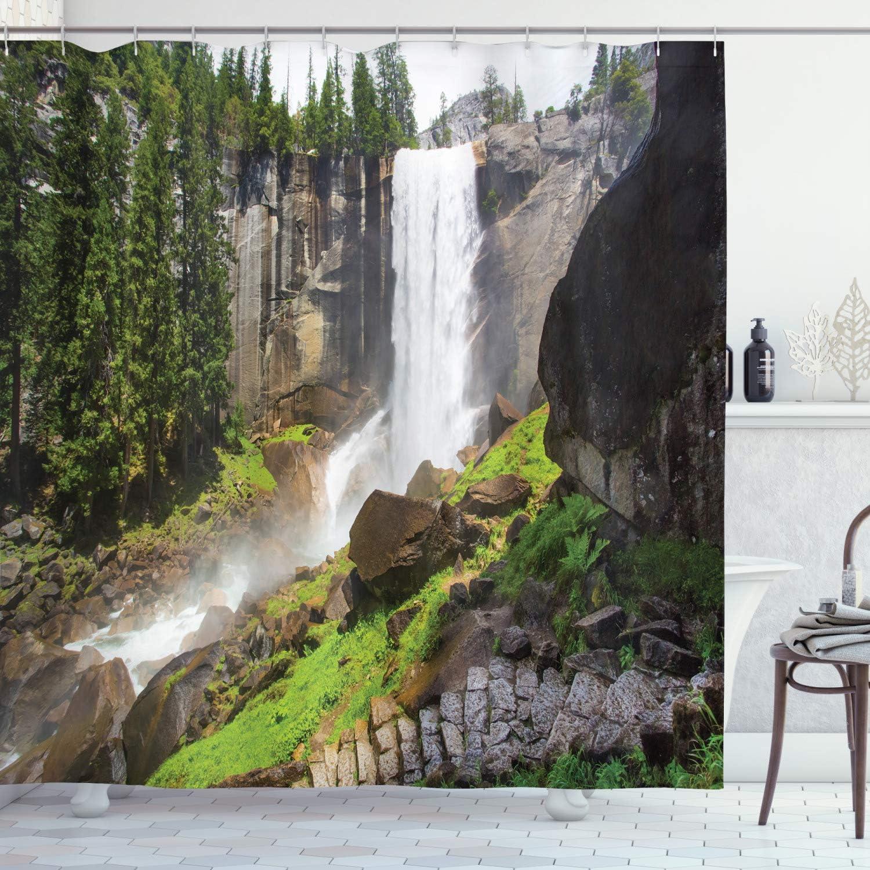 Ambesonne Yosemite Shower Curtain, Vernal Fall Yosemite National Park Alpine Forest Rocks Wild Natural Scenic Photo, Cloth Fabric Bathroom Decor Set with Hooks, 70