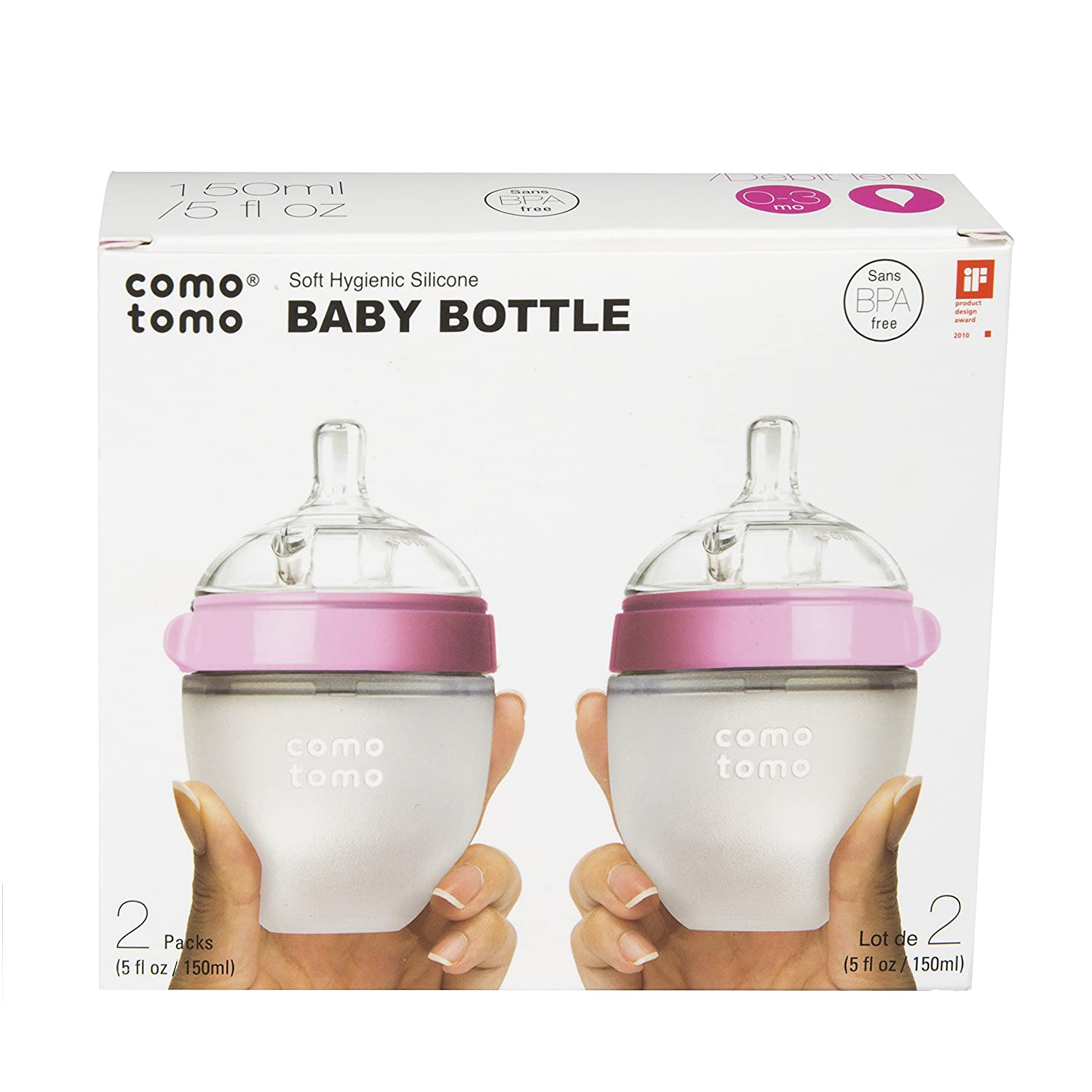 Comotomo Slow Flow Anti-Colic BPA Free Baby Bottles Pink 5 Ounce 2-Count