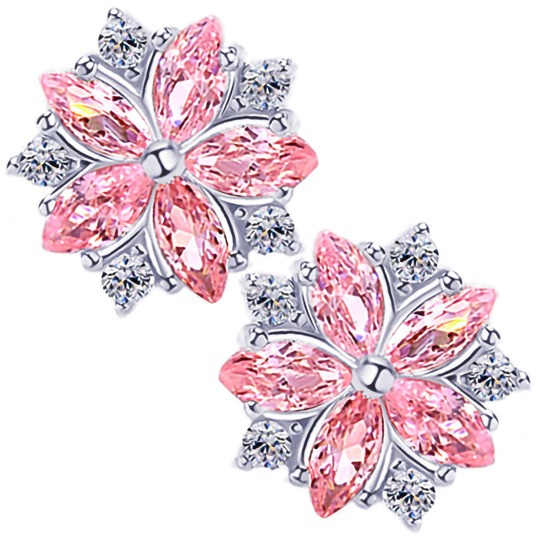 MAX World 桜ピアス 淡いピンク桜ピアス レディース人気 CZキュービックジルコニアスタッド シルバー925純銀製 ホワイトゴールド 金属アレルギー対応