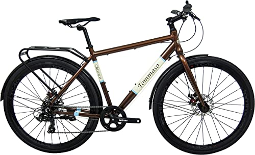 Tommaso Classico Shimano Tourney Hybrid City Disc Brake Bike, with Rear Rack, Fenders, Kickstand