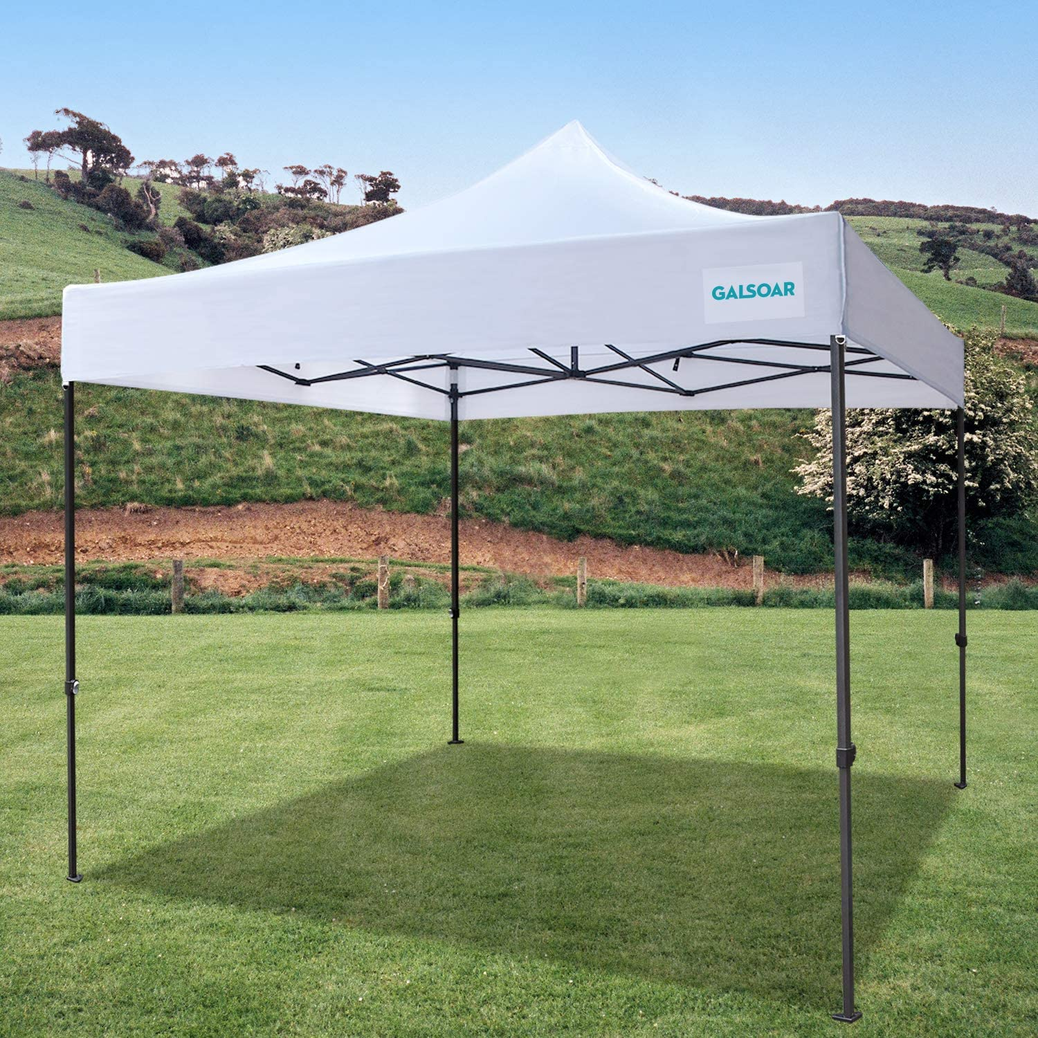 Galsoar Pop Up Canopy 10×10 Commercial Gazebos, Ez Up Canopy Tent Instant Shelter with Roller Bag Bonus 4 Weight Bags, Suitable for Party, Picnics, Market Stall, White