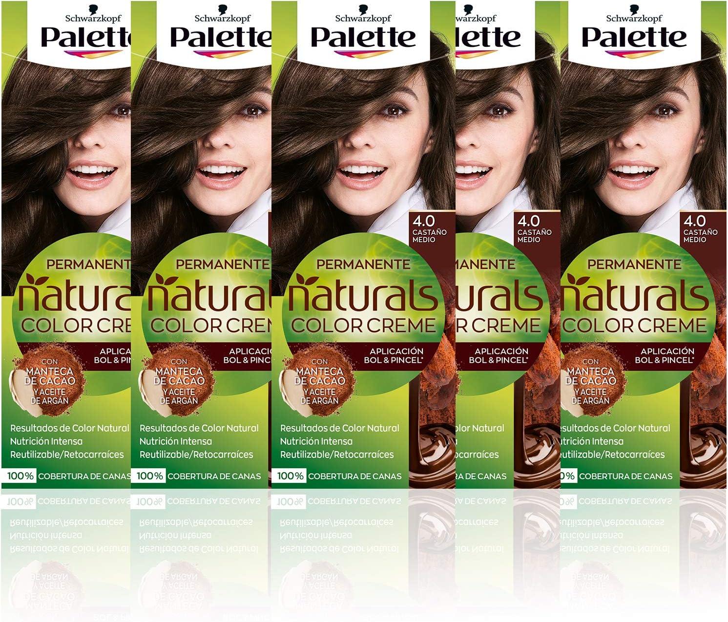 Schwarzkopf Palette Naturals Color Creme - Tono 4 cabello Castaño Medio (Pack de 5) - Coloración Permanente – Perfecta cobertura de canas – Colores ...