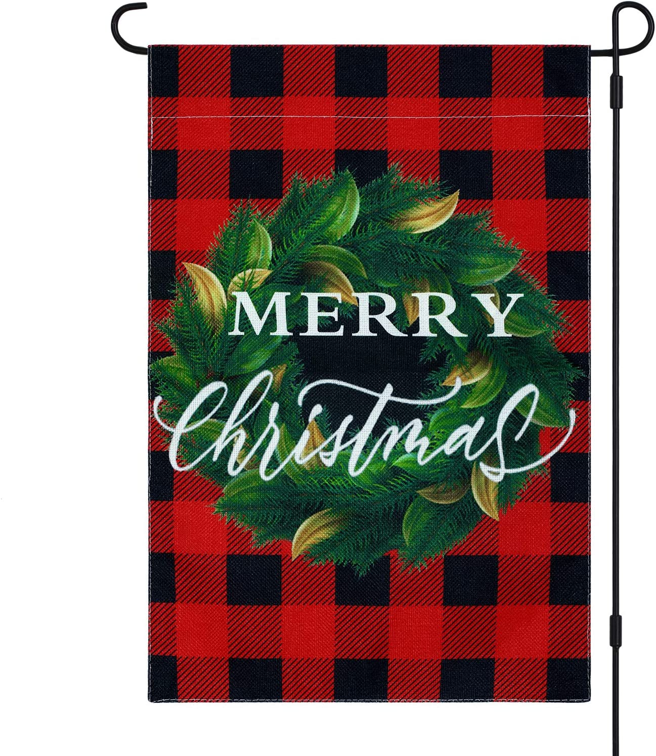 Christmas Garden Flag Red and Black Buffalo Plaid Wreath Garden Flag Double Sided Christmas Yard Burlap Flag for Outdoor House Decoration, 12.5 x 18 Inches