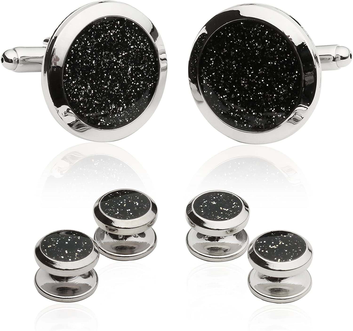 Cuff-Daddy Mens Tuxedo Cuff Links and Studs Diamond Dust Set from with Presentation Box