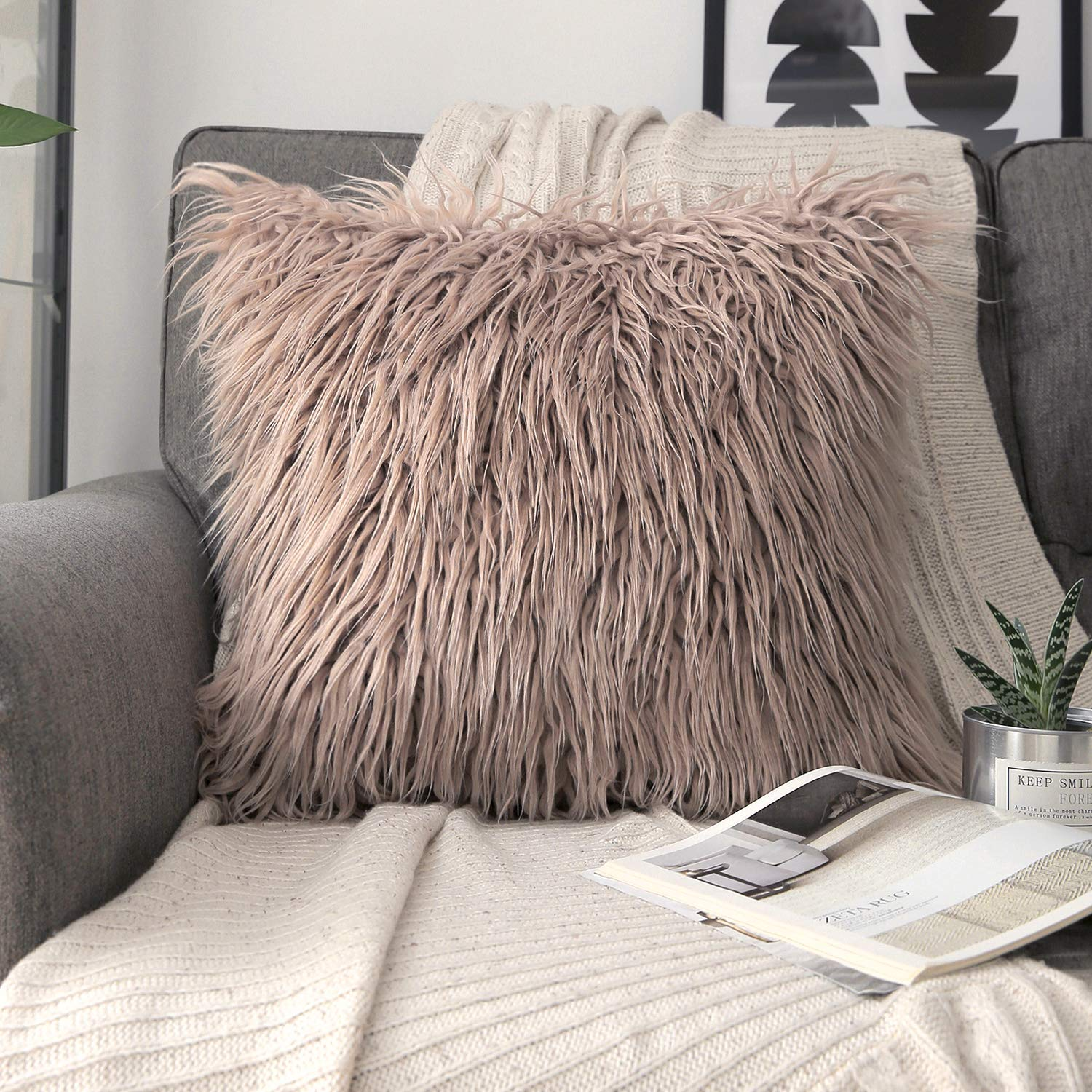 Phantoscope Luxury Series Throw Pillow Covers Faux Fur Mongolian Style Plush Cushion Case for Couch Bed and Chair, Beige 18 x 18 inches 45 x 45 cm