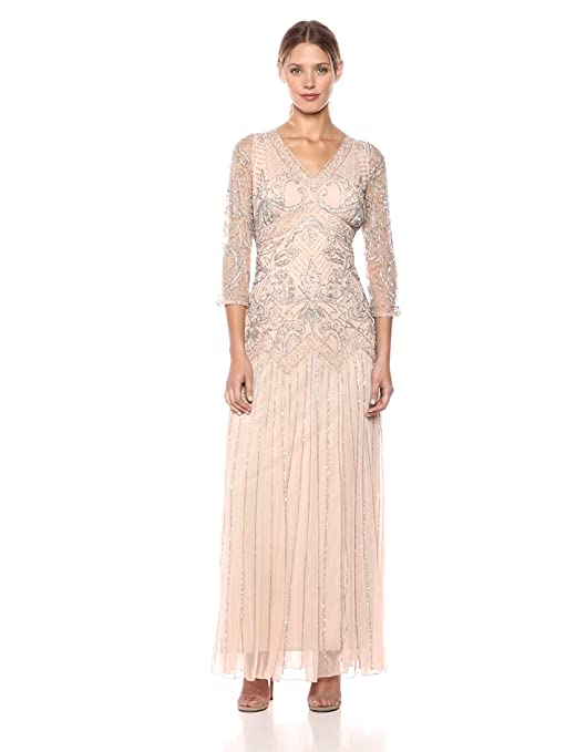 Vintage Inspired Wedding Dress | Vintage Style Wedding Dresses Pisarro Nights Womens Long Double V-Neck 3/4th Sleeve Dress $248.00 AT vintagedancer.com