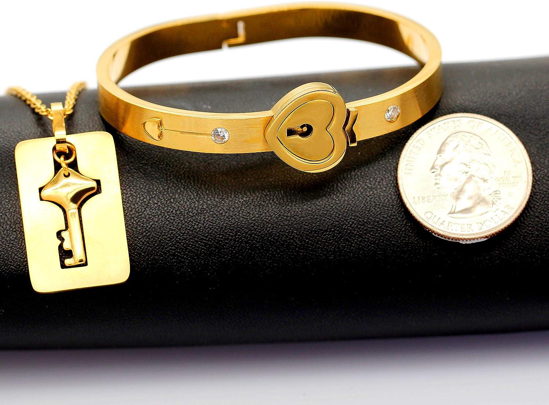 Uloveido Rose Gold Plated Titanium Matching Puzzle Couple Heart Bracelet and Key Pendant Necklace for Men and Women Bracelet Necklace Couple Jewellery Set for Girlfriend Boyfriend SN300