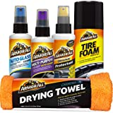 Armor All Car Wash and Interior Cleaner Kit (5 Items) - Includes Towel, Tire Foam, Glass, Protectant and Cleaning Spray, 1945