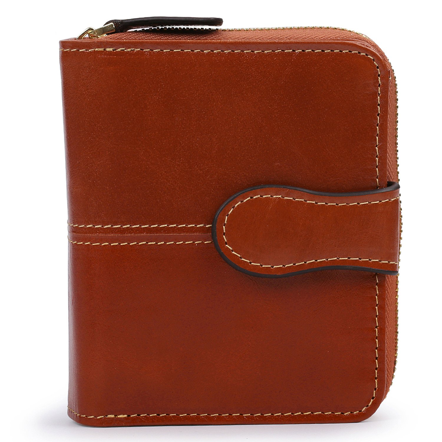 AINIMOER RFID Blocking Women's Leather Secure Spacious Small Wallet Zipper Pocket Card Case Compact Purse(Waxed Sorrel)