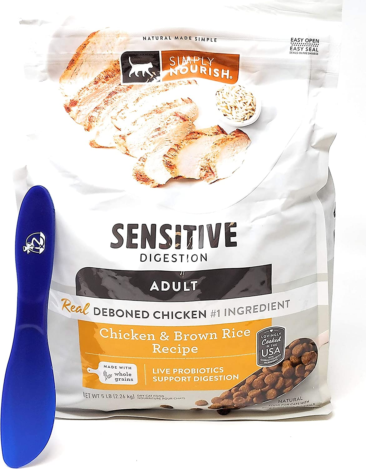 SIMPLY NOURISH Adult Dry Cat Food, Sensitive Digestion, Chicken and Brown Rice 5 lbs and Especiales Cosas Mixing Spatula