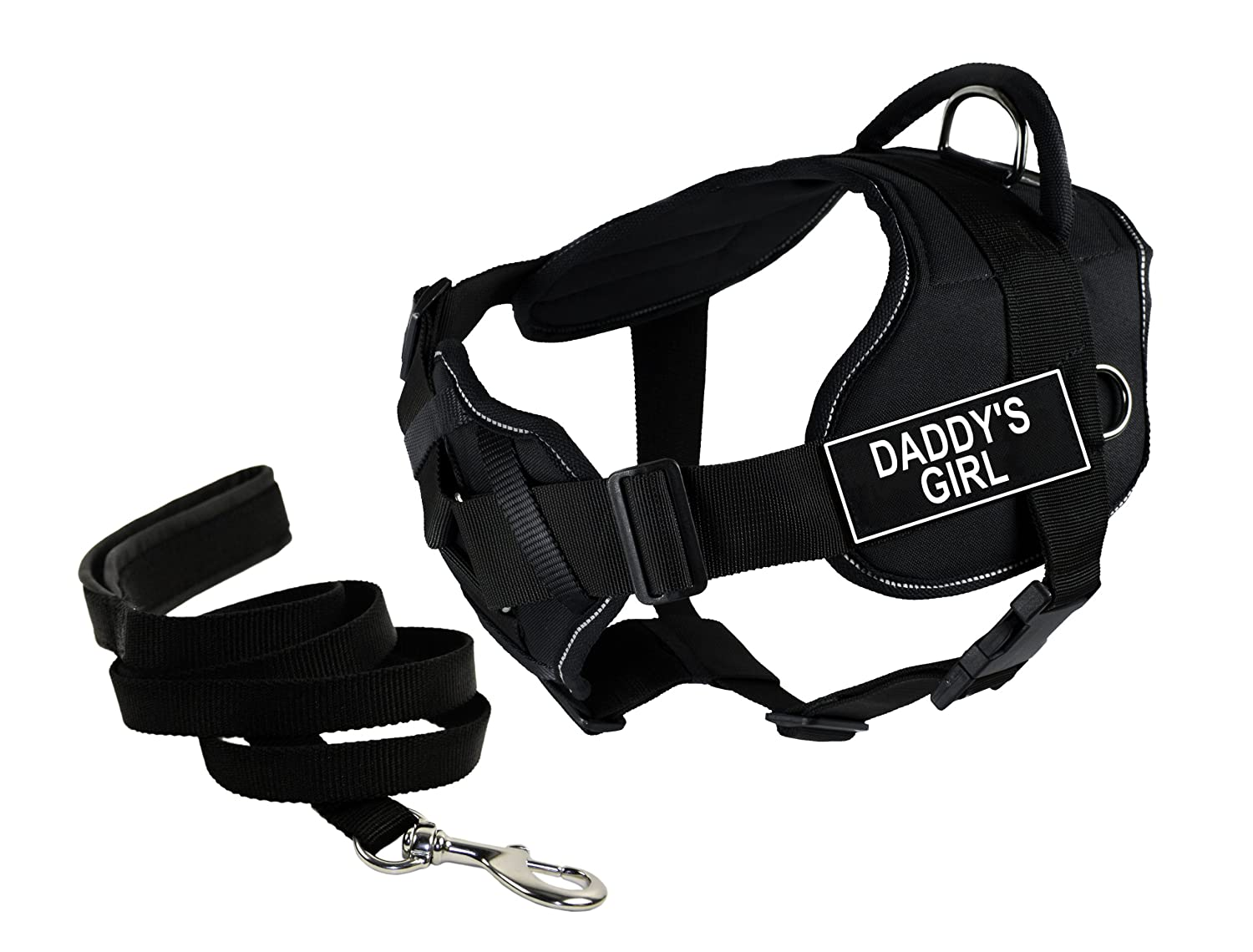 Dean & Tyler's DT Fun Chest Support DADDY'S GIRL Harness with Reflective Trim, Medium, and 6 ft Padded Puppy Leash.