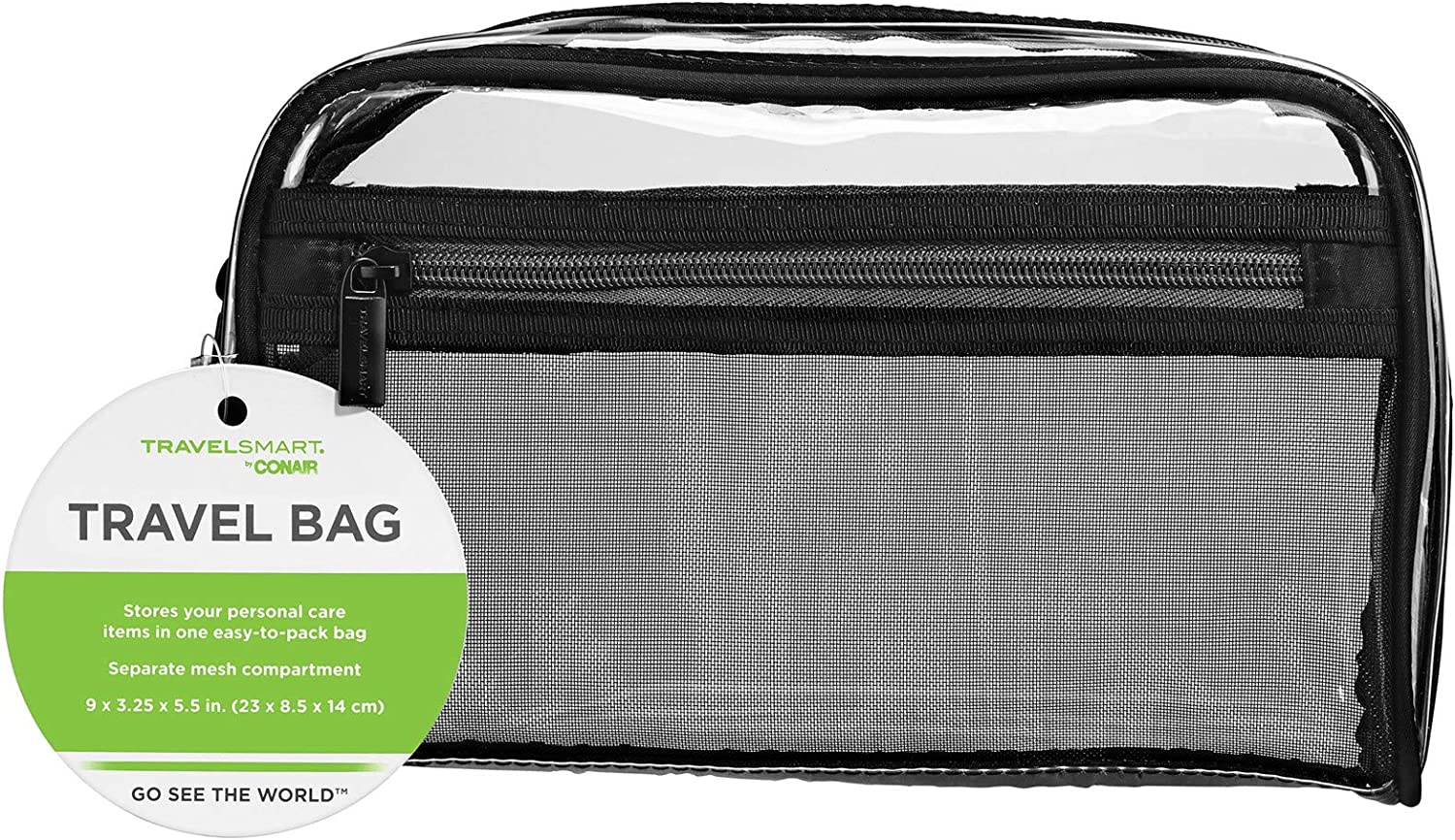 Travel Smart by Conair Sundry Cosmetic Bag, Clear w Mesh Pocket