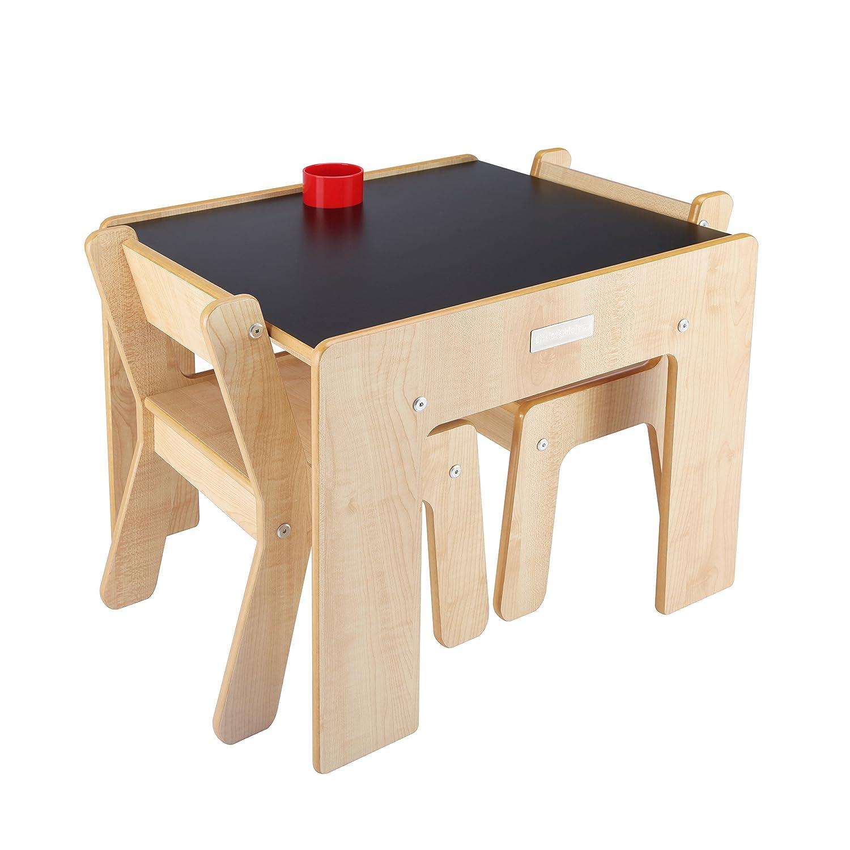Little Helper Funstation Duo Chaise pour Enfant avec Pot à Crayons/Pinceau en Tableau Naturel/Noir 24 Mois + FSD02-5