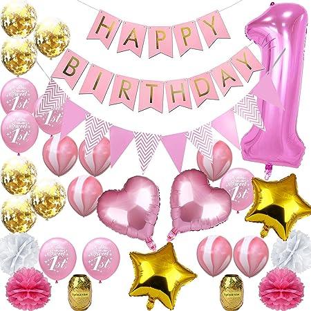 40 pulgadas corona rosa 1 año de edad confeti globo conjunto ...