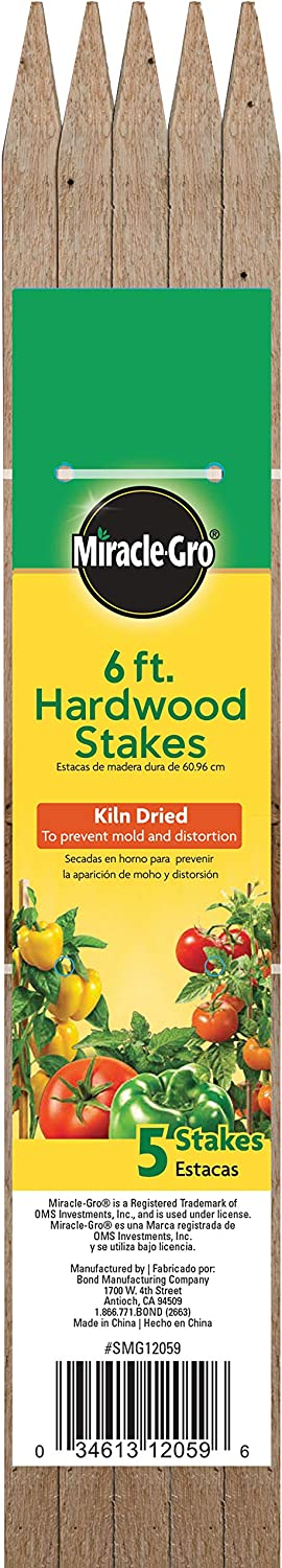 Bond Manufacturing SMG12066 Hardwood Stakes, 6-Feet x 3/4 by 3/4-Inch, 5-Pack, Brown/A