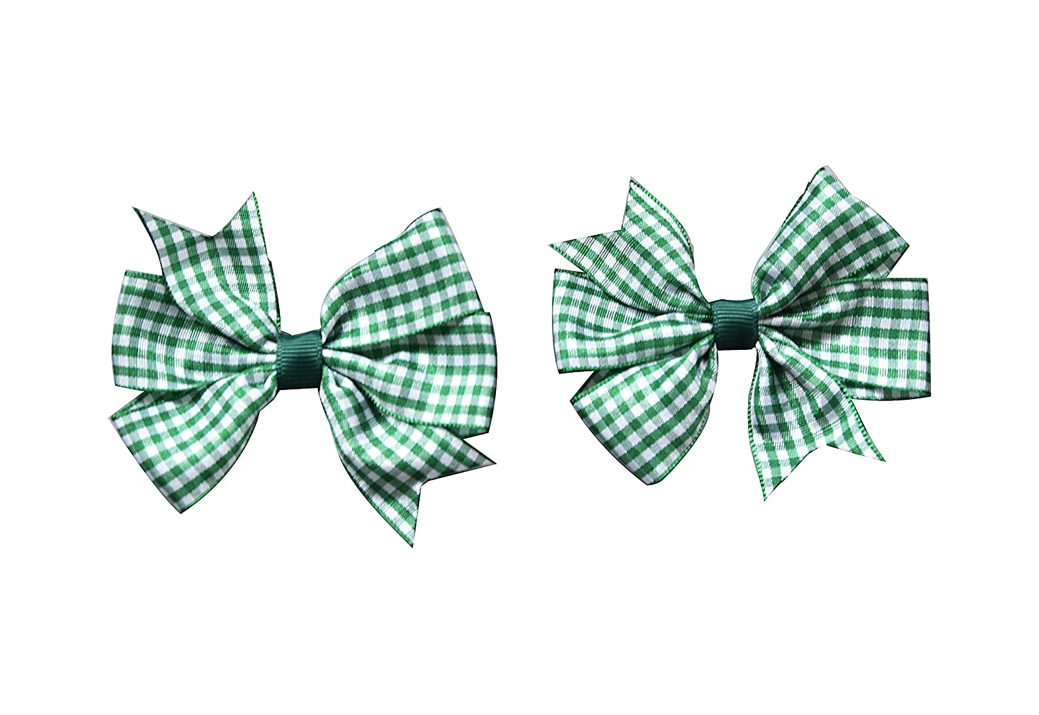 Bottle Green PrettyBoutique Girls Flat Fan Bow School Gingham Alice Band Headband