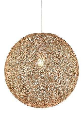 Lámpara de techo bola de papel trenzado 1 de techo Iluminación de techo dormitorio lámpara colgante (Proyección, Salón, 32 cm, altura 120 cm, Marrón)