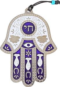 Jewish Chai Living Good Luck Home Wall Decor Multicolor Hamsa Hand - Large - Made in Israel (Purple)