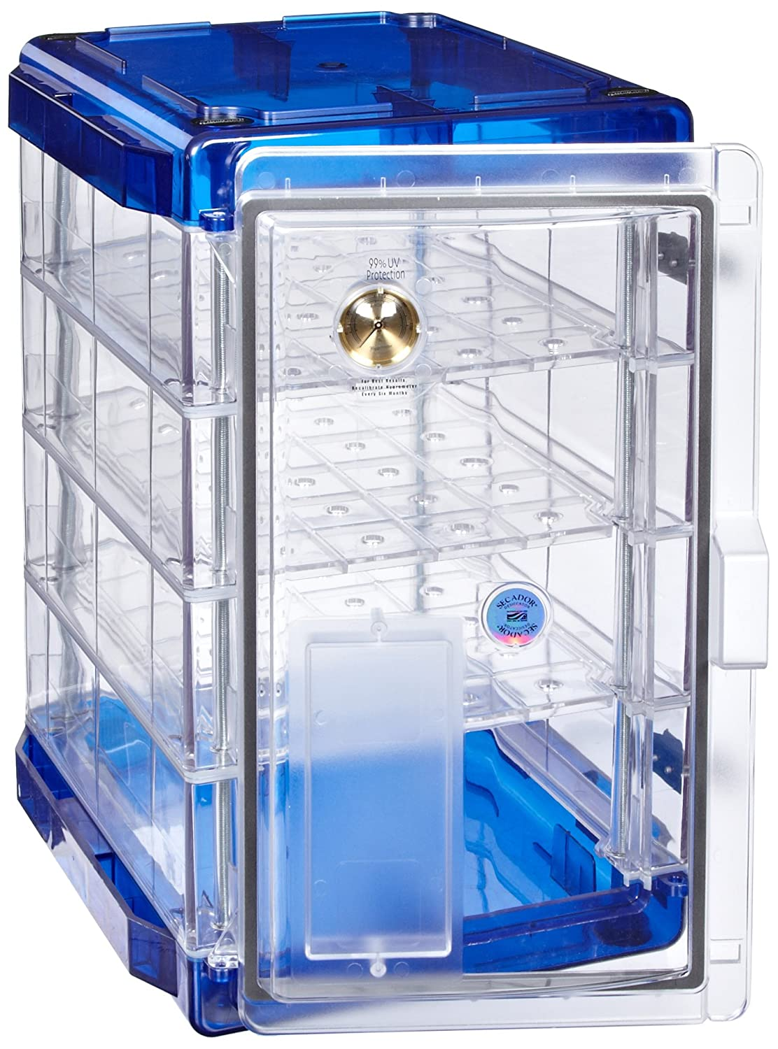 Bel-Art Secador Clear 4.0 Vertical Desiccator Cabinet with Blue End-Caps; 1.9 cu. ft. (F42074-1006)