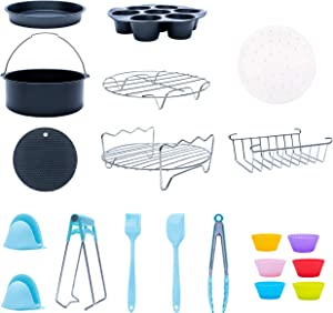 XL Air Fryer Accessories 8 inch|Airfryer Set of 18 for Gowise Phillips Cozyna Ninja|4.2-6.8QT|Deep Fryer set: Cake Barrel/Pizza Pan/Liners/Brush/Mitts/muffin cups/Racks/Spatula/Tongs/Dish Clip