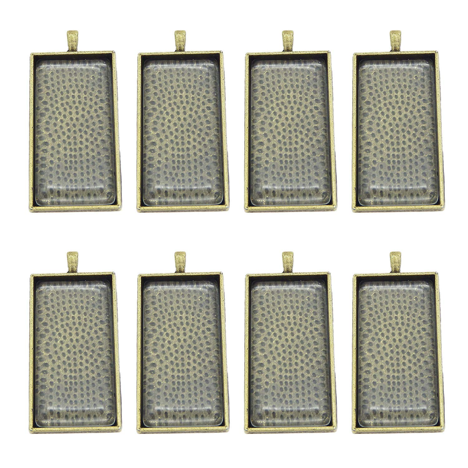Silver 48x24mm GraceAngie 10 Pieces Rectangle Bezel Pendant Trays with Glass Dome Tiles Cabochon Blanks Cameo Bezel Cabochon Settings