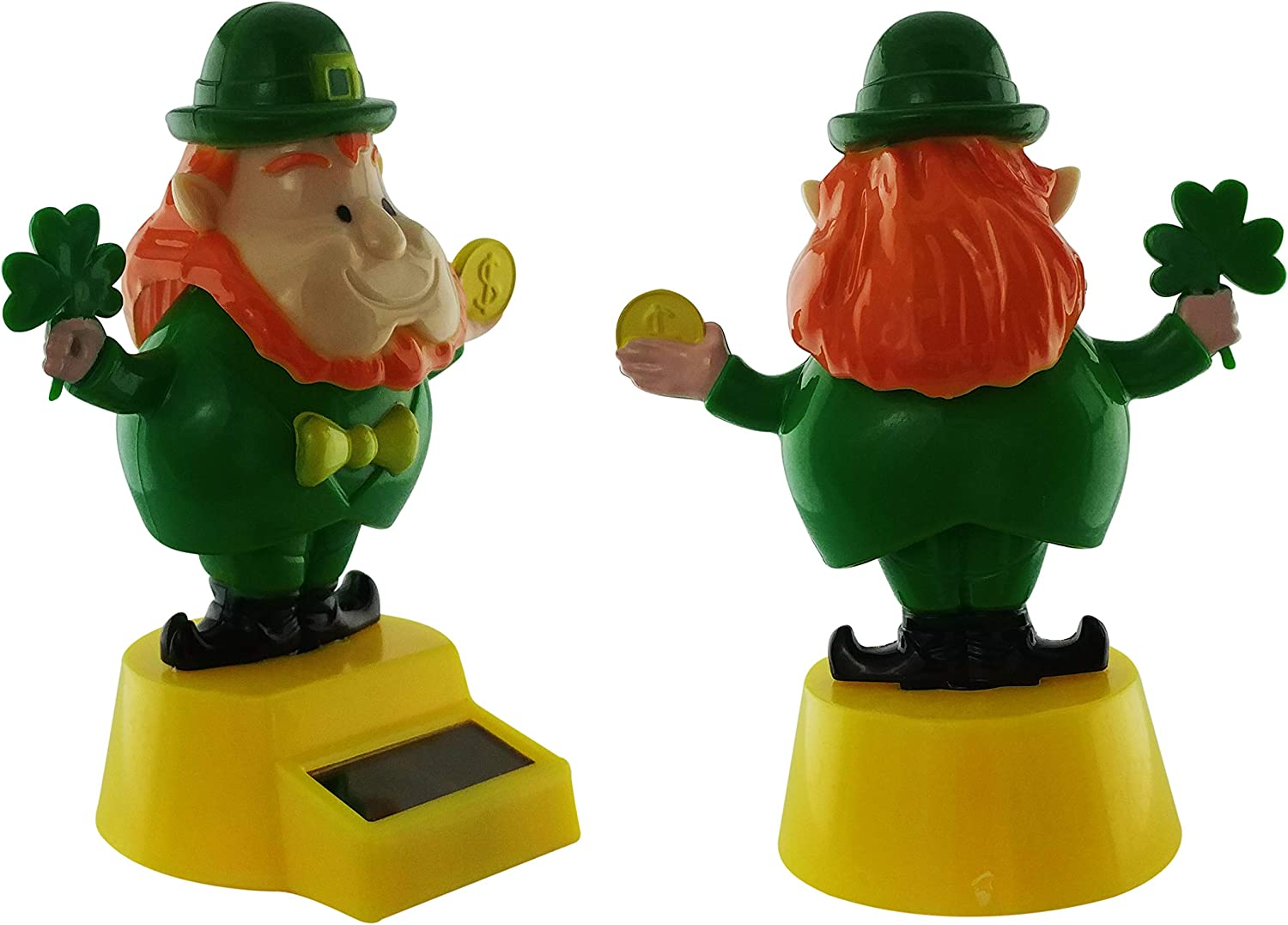 Solar Toys Dancing in The Leprechauns Gold Coin and Shamrock Solar Dancing Leprechaun Bobblehead Figures for Car Solar Dancing Figures for Home and Office