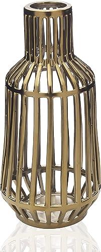 Scott Living Luxe Gold Ceramic Cage Vase, 12 inch