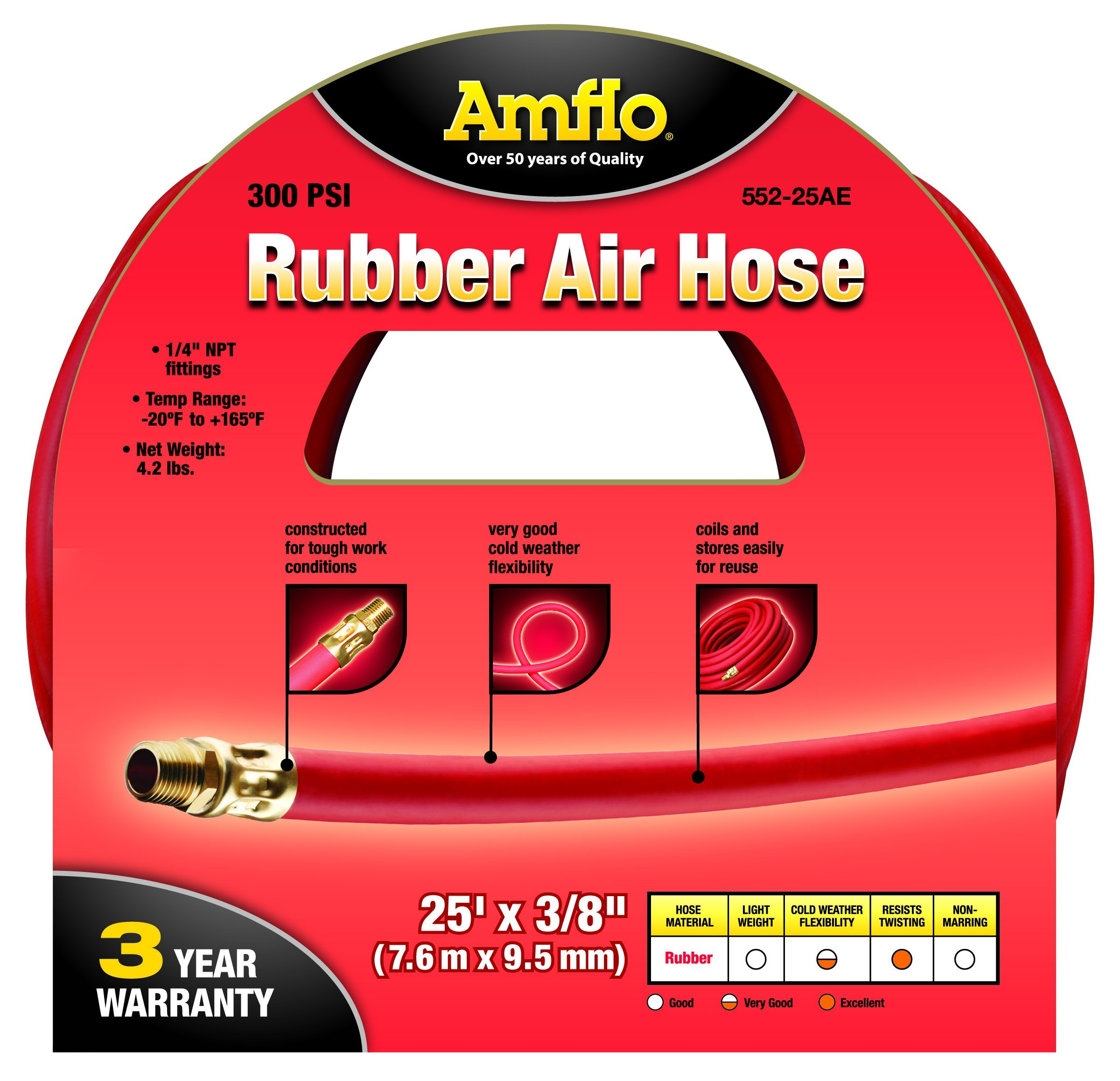 Amflo 552-25AE Red 300 PSI Rubber Air Hose 3/8'' x 25' With 1/4'' MNPT End Fittings by Amflo (Image #2)
