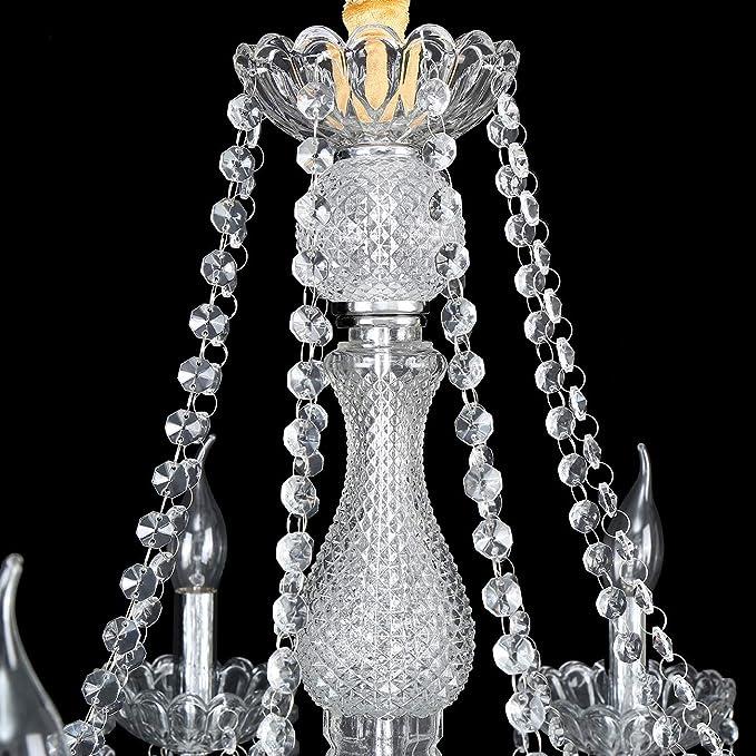 Samger Samger Lujoso Araña de 8 brazos K5 Cristal transparente Vidrio plata Color transparente Lámpara de techo Lámpara de techo para Vivo Habitación Habitación Pasillo Entrada: Amazon.es: Iluminación