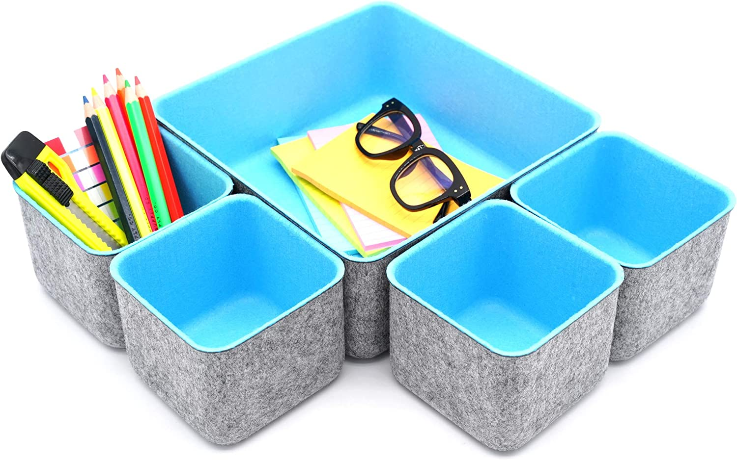Welaxy Storage bins Set Office Drawer Organizers for School Home Kitchen Closet Cabinet Desk organize boxes Gifts idea Pack of 5 Sky Blue)