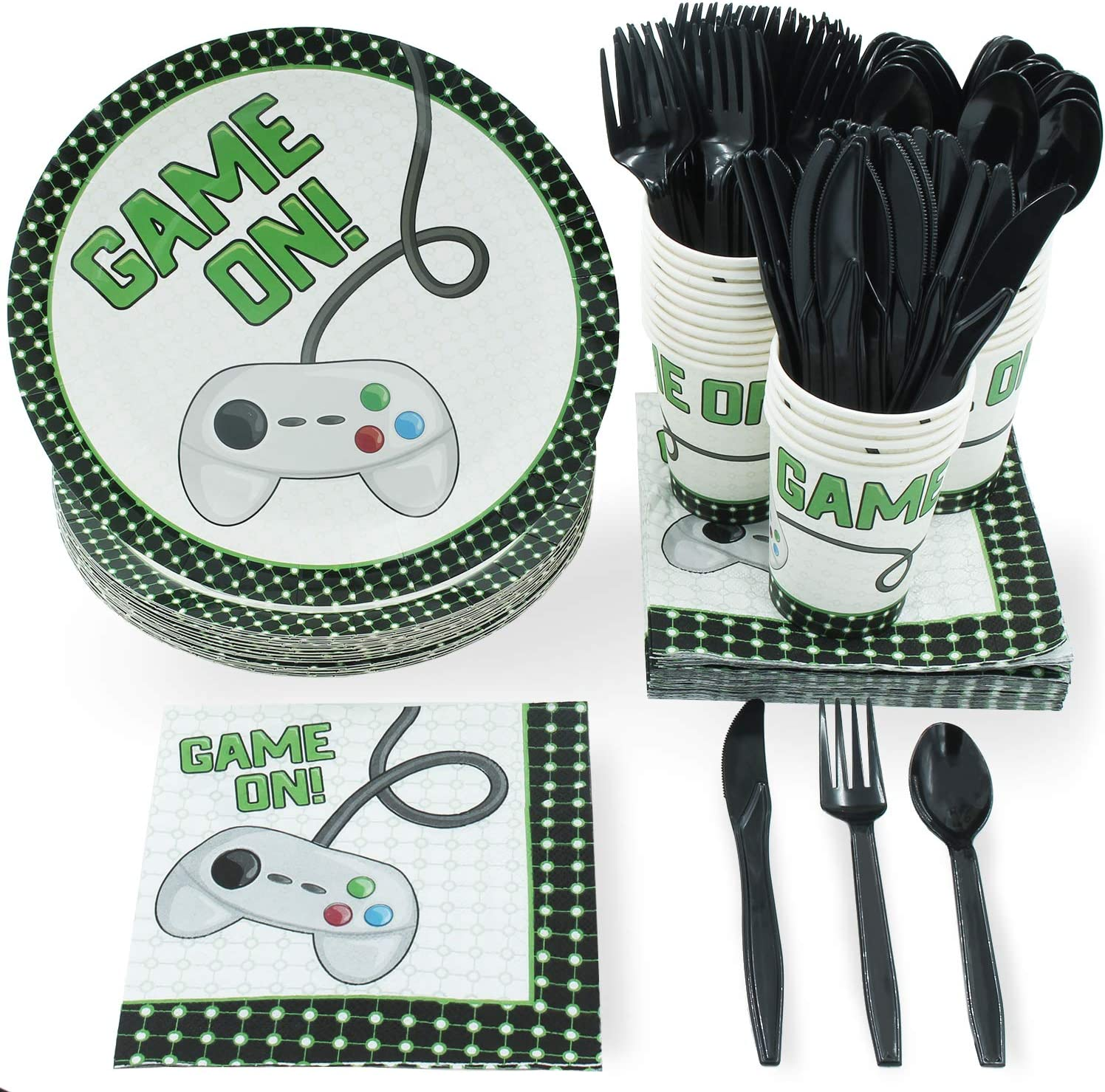 Vintage Video Game Party Bundle, Includes Plates, Napkins, Cups, and Cutlery (24 Guests,144 Pieces)
