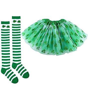 Aneco 3 piezas Día de San Patricio Shamrocks calcetines Falda de tutú sobre la rodilla Medias