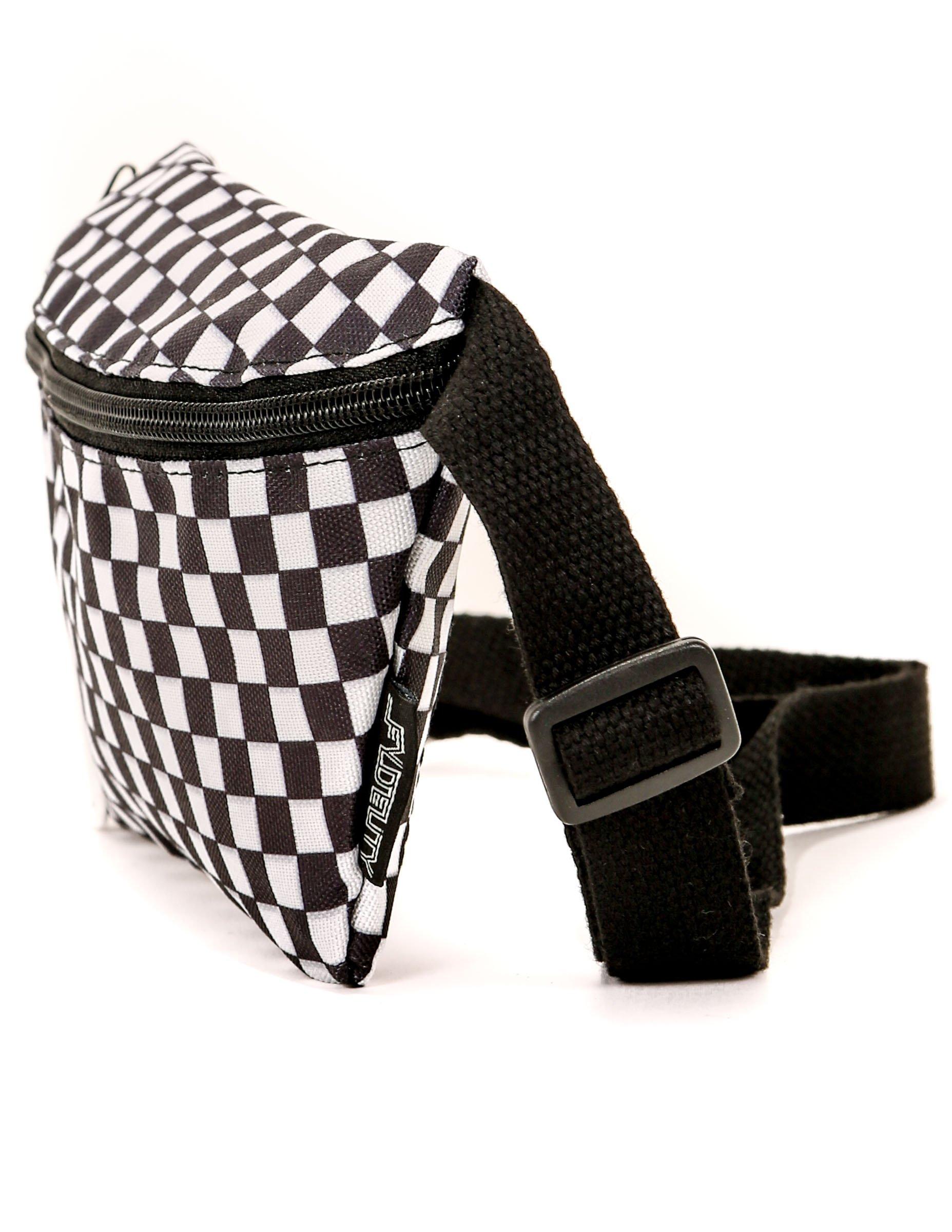 FYDELITY- Ultra-Slim Fanny Pack: PRINT Indy, Black & White Check