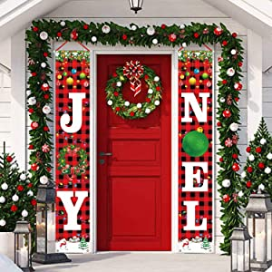 Tifeson Christmas Decorations Outdoor - Joy Noel Porch Signs Banners - Red Black Buffalo Plaid Xmas Navidad Holiday Decor for Home Indoor Exterior Front Door Yard Wall Apartment