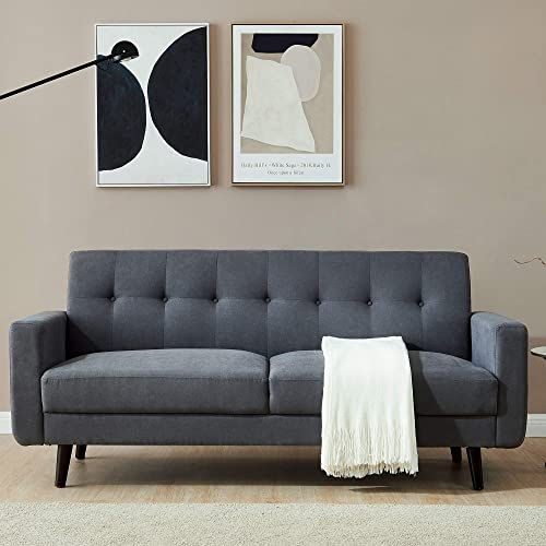 79 inch Polyester Fabric Couch,JULYFOX Mid Century Modern Sofa 3 Seater Button Tufted Back Cushions