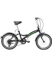 F.lli Schiano Pure, Bici Pieghevole Unisex Adulto, Nero-Verde, 20''