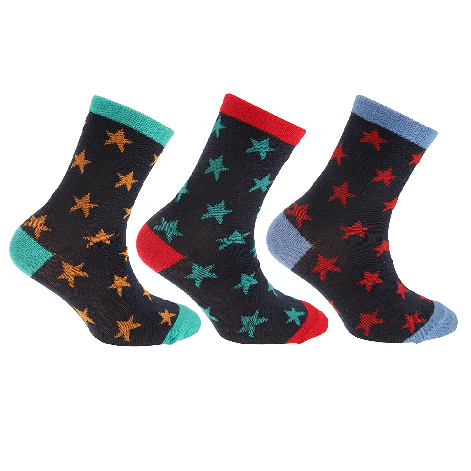 Childrens/Boys Cotton Rich Space/Star Design Socks (Pack Of 3) Universal Textiles
