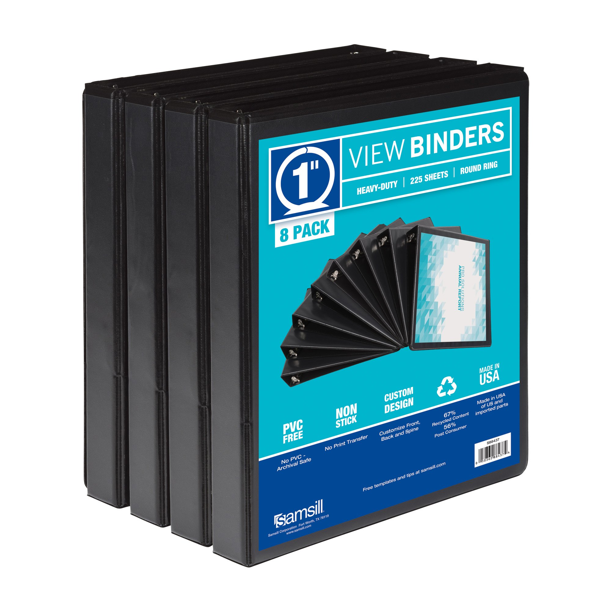 Samsill S88430 3 Ring Durable View Binders - 8 Pack, 1 Inch Round Ring , Non-Stick Customizable Clear Cover, Black