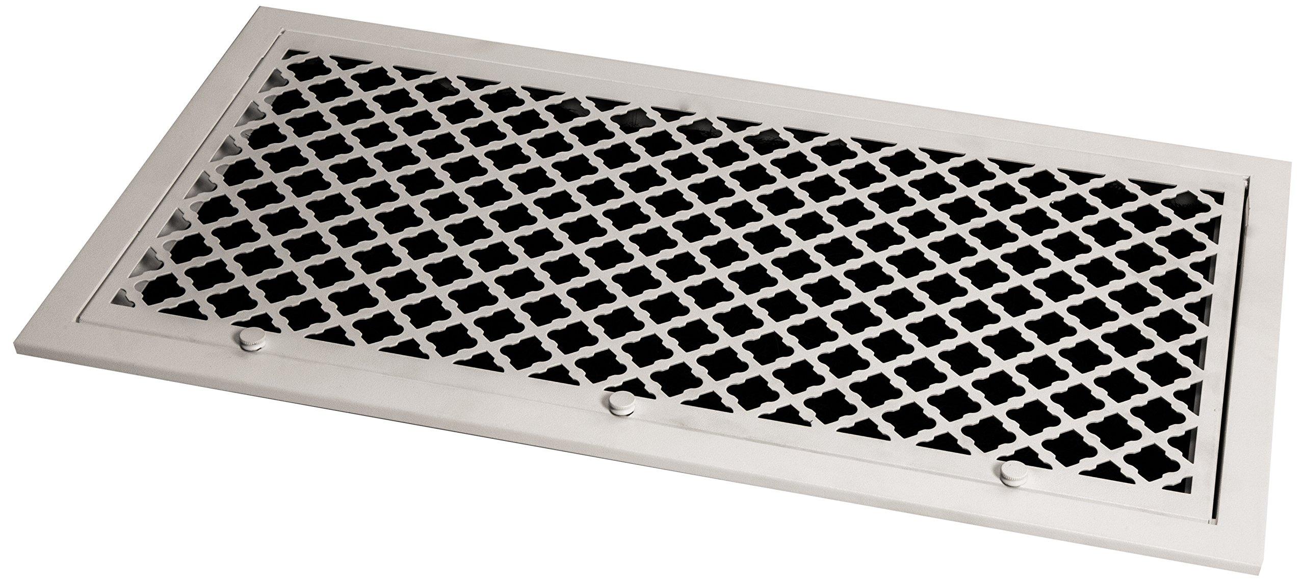 SteelCrest BTU24X12FFWH Bronze Series Designer Filter Return Vent with Hinged Door, White