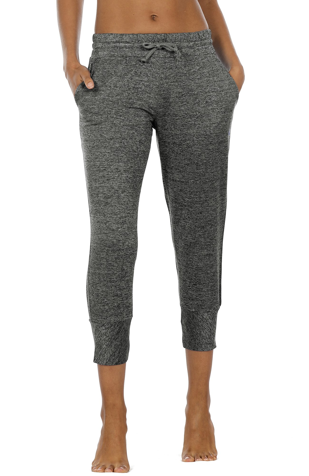 icyzone Women's Active Joggers Sweatpants - Athletic Yoga Lounge Capris with Pockets(M, Charcoal)
