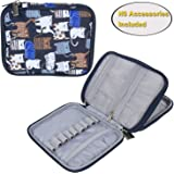 Teamoy Crochet Hook Case, Organizer Zipper Bag with Web Pockets for Various Crochet Needles and Knitting Accessories, Well Made, Small Volume and Easy to Carry, Cats Blue(No Accessories Included)