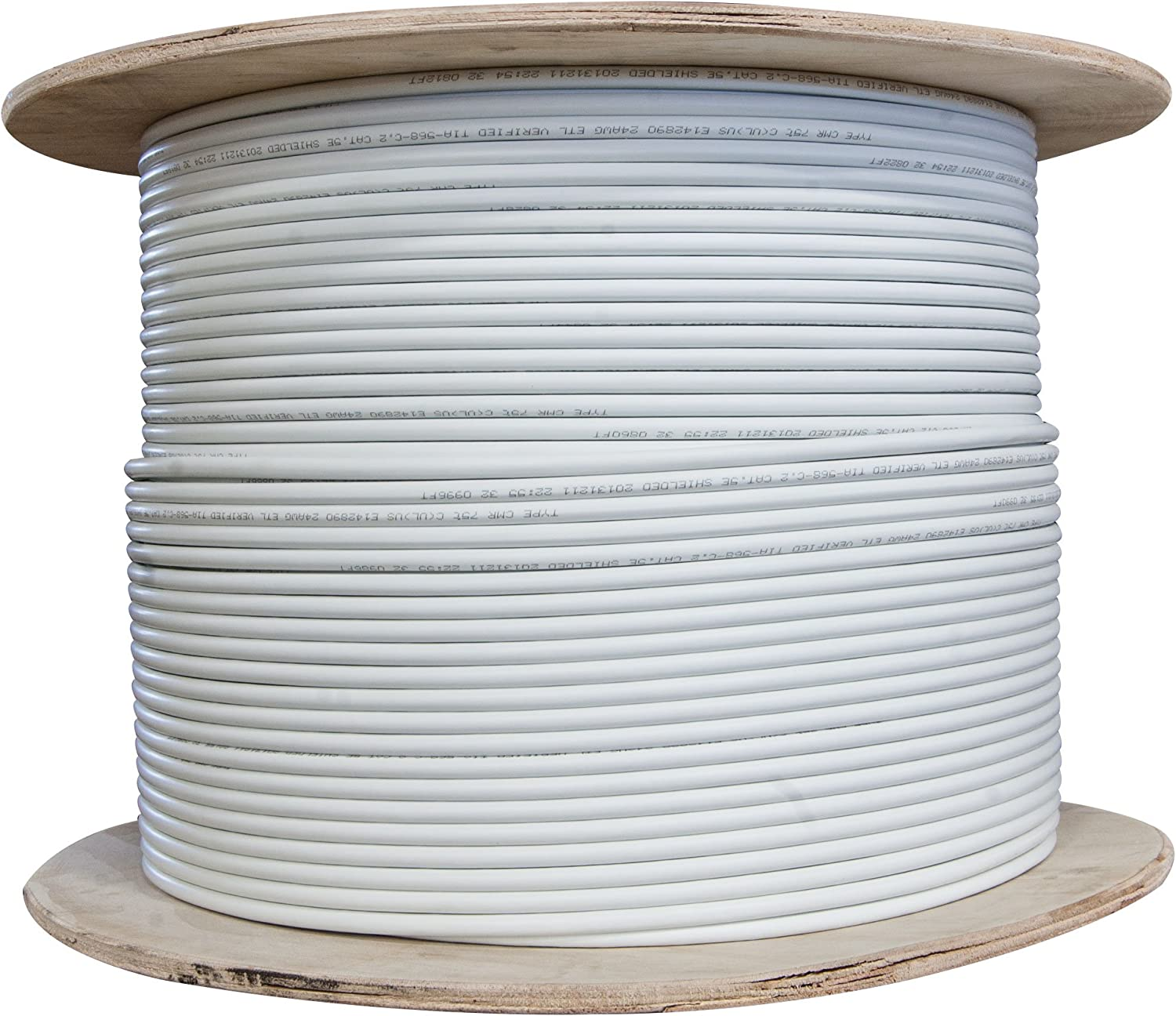ACCL 1000ft Shielded Cat6 Ethernet Cable 23AWG Spool Bare end White Solid 1pk