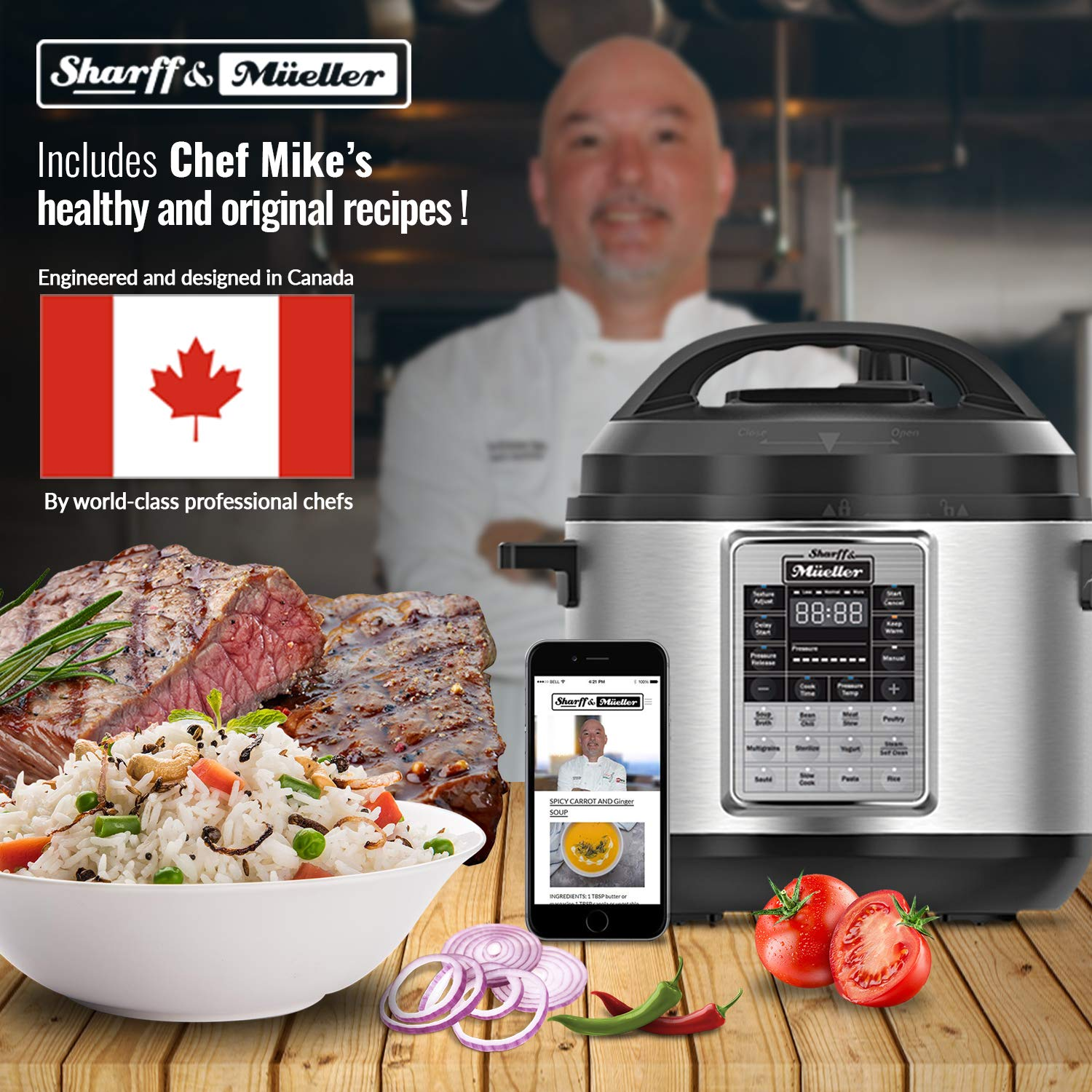 Electric Pressure Cooker 6 Quart Stainless Steel 12 in 1 Programmable Multipot Cooker Duopro RecipeBook Included by Sharff and Mueller by Sharff & Müeller (Image #7)