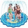 "Mademax Upgraded 79"" Splash Pad, Sprinkler & Splash Play Mat, Inflatable Summer Outdoor Sprinkler Pad Water Toys Fun for Chil"