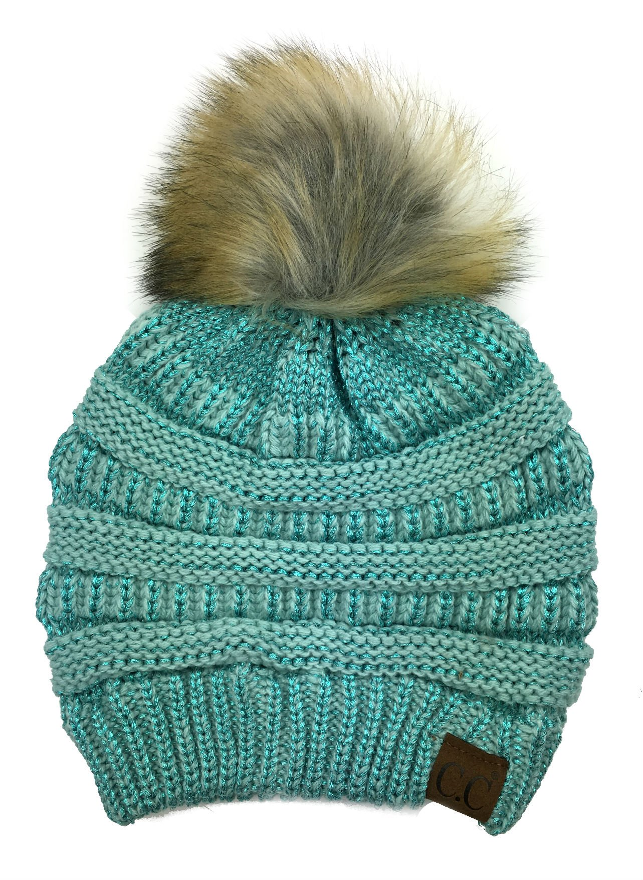 Plum Feathers Soft Stretch Cable Knit Ribbed Faux Fur Pom Pom Beanie Hat (Mint Metallic)