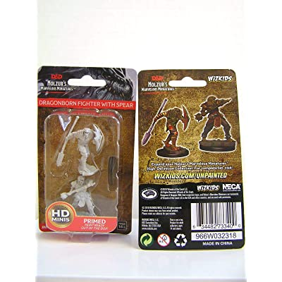 NECA Nolzur's Marvelous Unpainted Minis: Dragonborn Male Fighter with Spear: Toys & Games